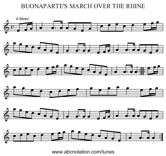 BUONAPARTE'S MARCH OVER THE RHINE - staff notation