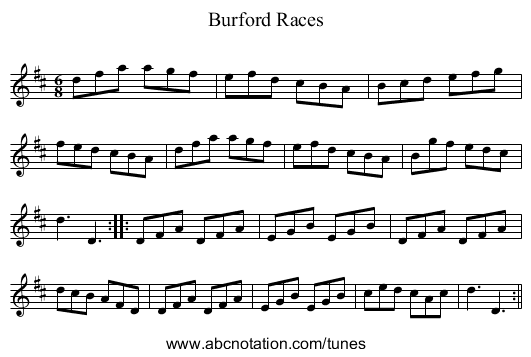 Burford Races - staff notation