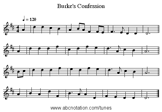 Burke's Confession - staff notation