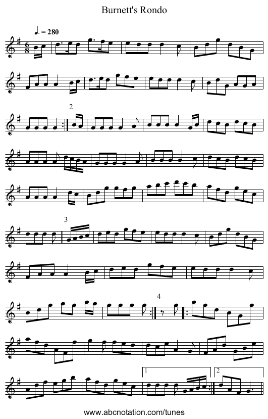 Burnett's Rondo - staff notation