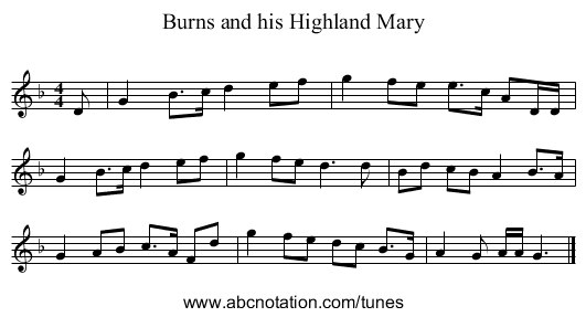 Burns and his Highland Mary - staff notation
