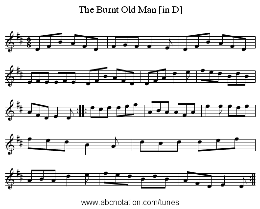 Burnt Old Man [in D], The - staff notation