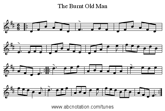 Burnt Old Man, The - staff notation