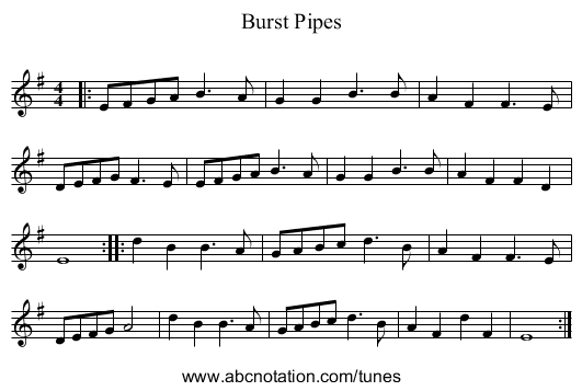 Burst Pipes - staff notation