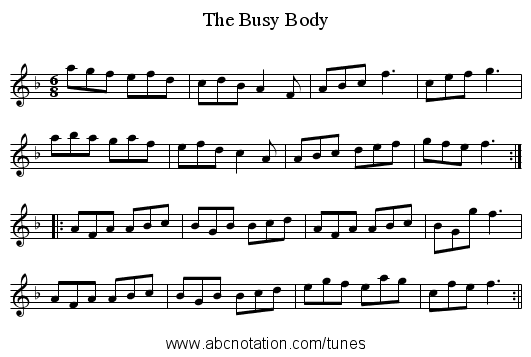 Busy Body, The - staff notation