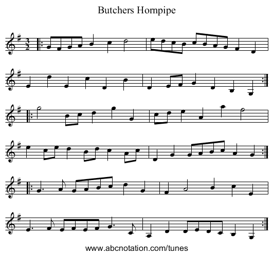 Butchers Hornpipe - staff notation