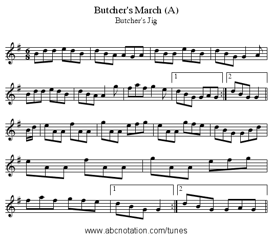 Butcher's March (A) - staff notation