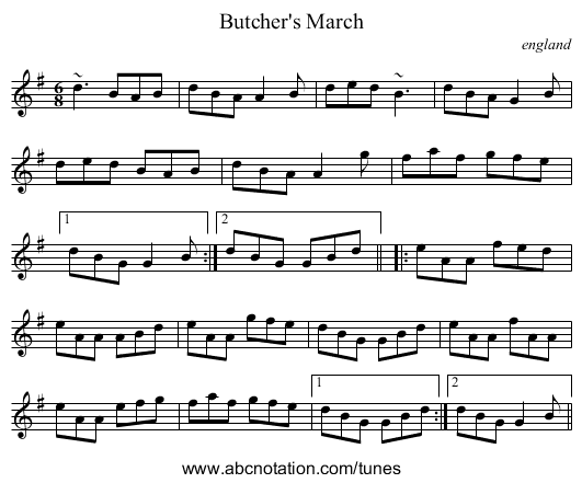 Butcher's March - staff notation