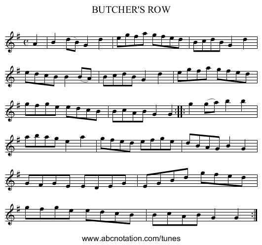 BUTCHER'S ROW - staff notation