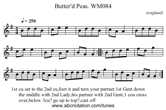 Butter'd Peas. WM084 - staff notation