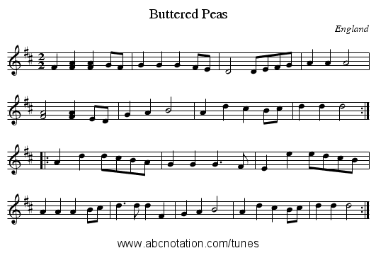 Buttered Peas - staff notation