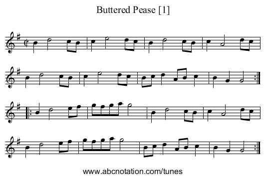 Buttered Pease [1] - staff notation