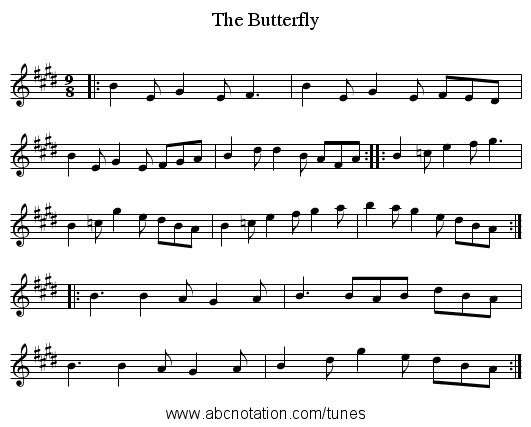 Butterfly, The - staff notation