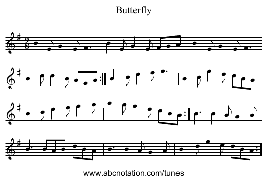 Butterfly - staff notation
