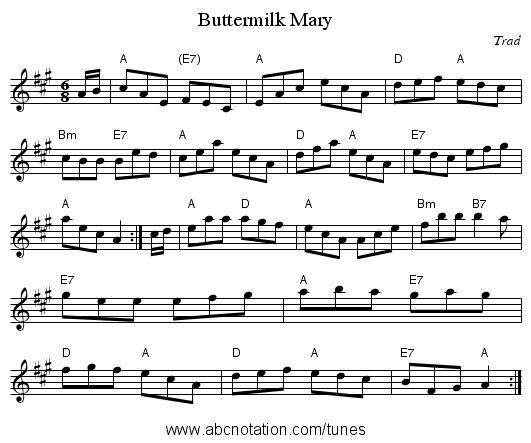 Buttermilk Mary - staff notation