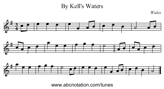 By Kell's Waters - staff notation