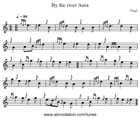 By the river Aora - staff notation