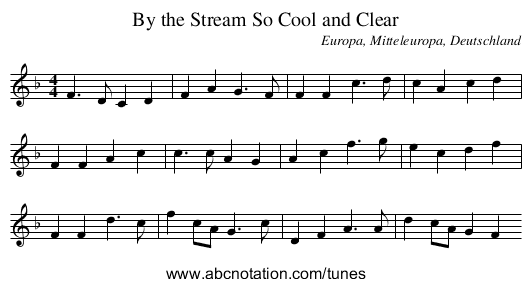 By the Stream So Cool and Clear - staff notation