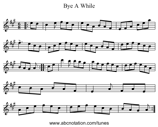 Bye A While - staff notation