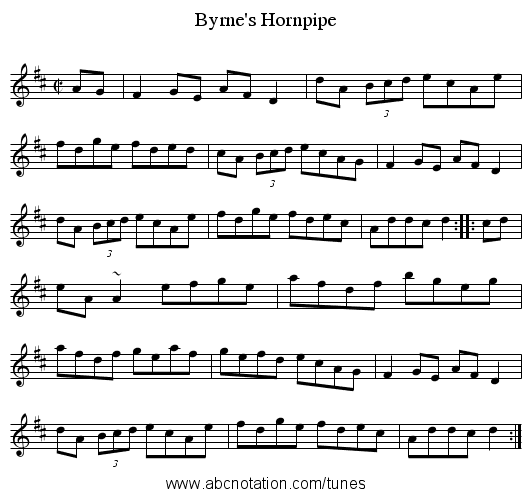 Byrne's Hornpipe - staff notation