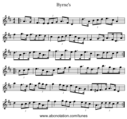 Byrne's - staff notation