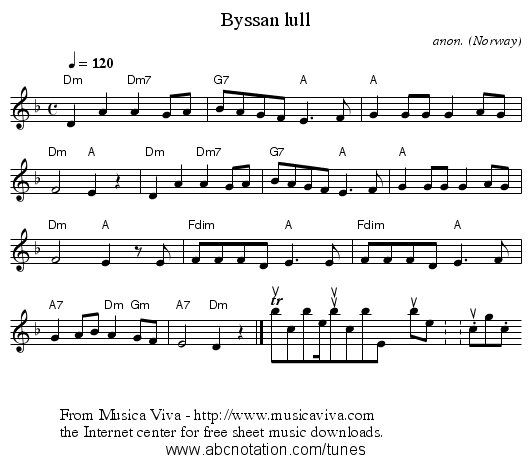 Byssan lull - staff notation