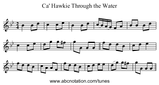 Ca' Hawkie Through the Water - staff notation