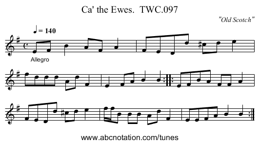 Ca' the Ewes.  TWC.097 - staff notation