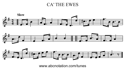 CA' THE EWES - staff notation