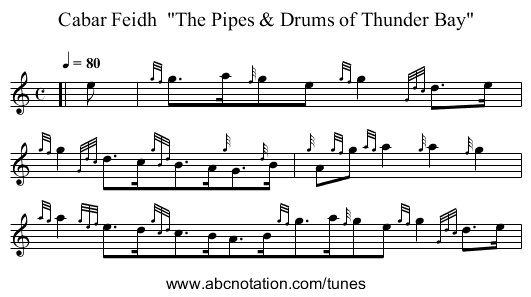 Cabar Feidh  The Pipes & Drums of Thunder Bay - staff notation