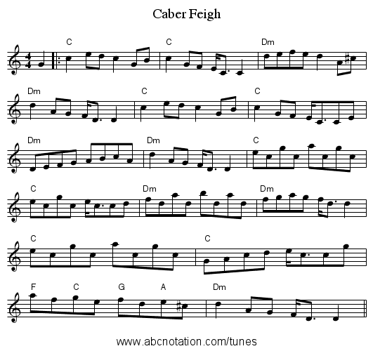 Caber Feigh - staff notation