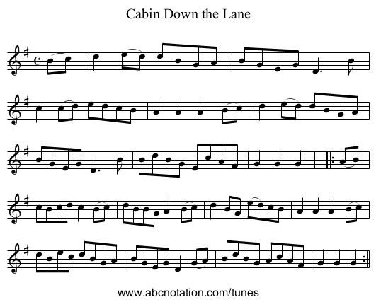 Cabin Down the Lane - staff notation