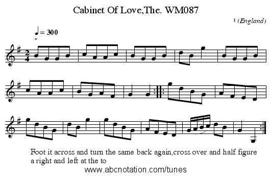 Cabinet Of Love,The. WM087 - staff notation