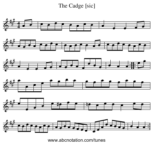 Cadge [sic], The - staff notation