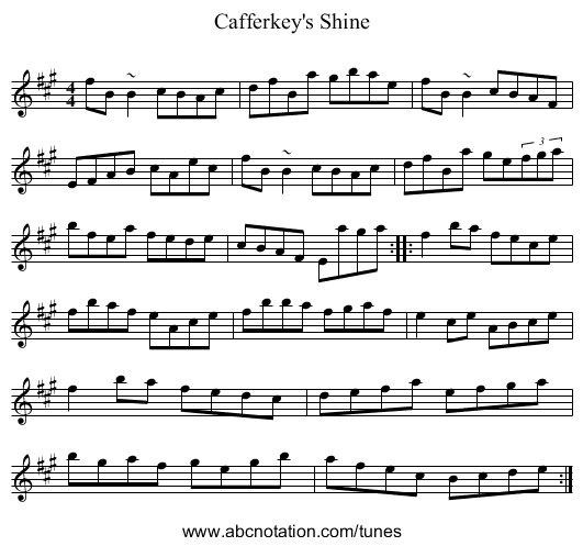 Cafferkey's Shine - staff notation