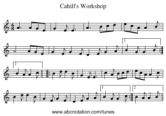 Cahill's Workshop - staff notation