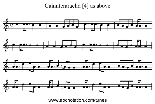 Cainnterarachd [4] as above - staff notation