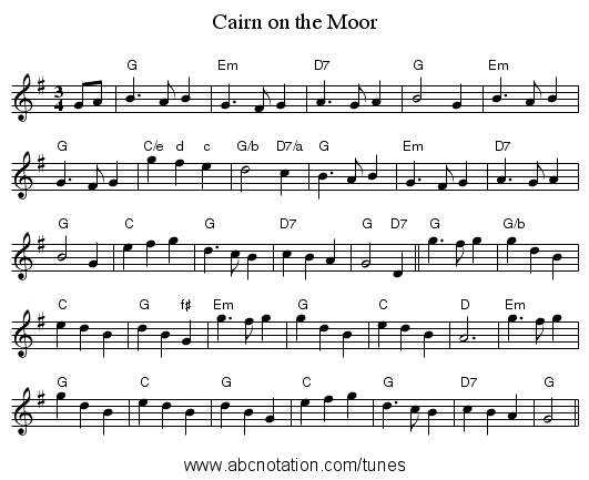 Cairn on the Moor - staff notation