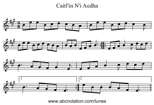 Caitl'in N'i Aedha - staff notation