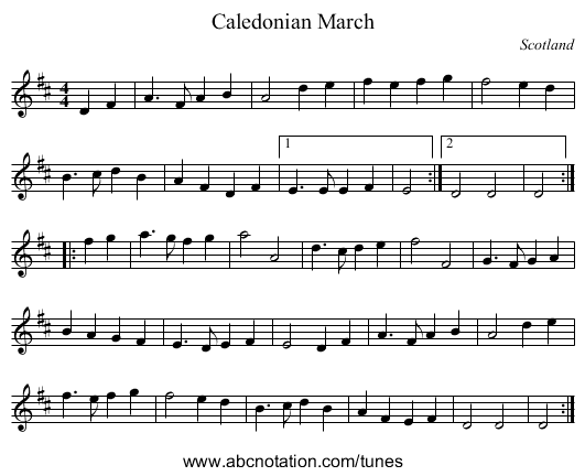 Caledonian March - staff notation