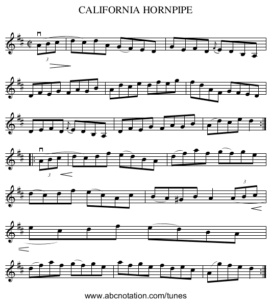 CALIFORNIA HORNPIPE - staff notation