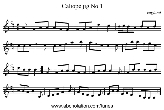Caliope jig No 1 - staff notation