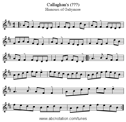Callaghan's (???) - staff notation
