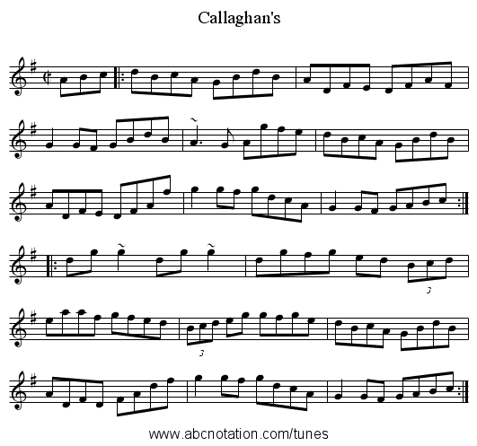 Callaghan's - staff notation