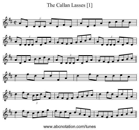 Callan Lasses [1], The - staff notation