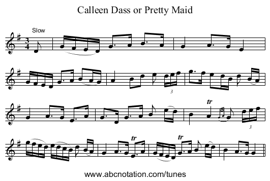 Calleen Dass or Pretty Maid - staff notation