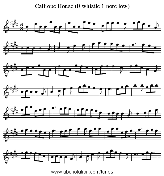 Calliope House (E whistle 1 note low) - staff notation