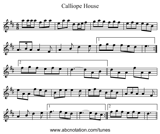 Calliope House - staff notation