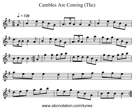 Cambles Are Coming (The) - staff notation