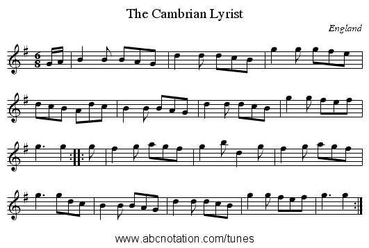 Cambrian Lyrist, The - staff notation